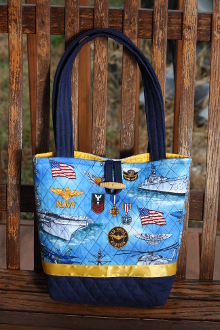 Tote Bag Lite Blue US Navy Themed fabric