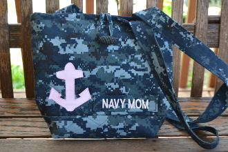 Navy Digital Blue Camouflage Tote Bag