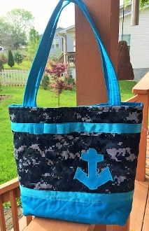 Navy Digital Blue Camouflage Two Colored Tote Bag