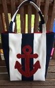 Navy and White Canvas Tote with Appliqued Anchor