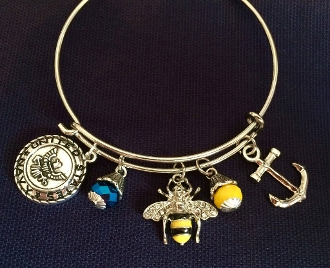 Navy Sea Bee Anchor Charm Bracelet