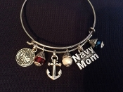 Navy Mom Anchor Charm Bracelet
