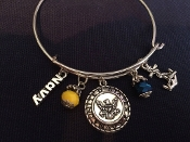 Navy Anchor Charm Bracelet