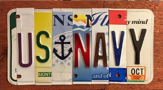 US Navy License Plate sign