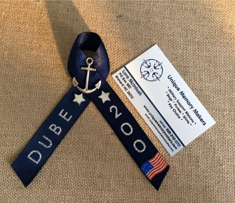 Navy PIR Ribbons with Name, Navy and Silver